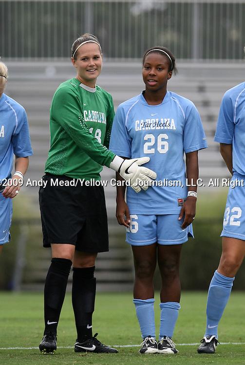 18 September 2009: North Carolina's Ashlyn Harris (18) and Nikki Washington (26). The University of North Carolina Tar Heels defeated the Louisiana State University Tigers 1-0 at Koskinen Stadium in Durham, North Carolina in an NCAA Division I Women's college soccer game.