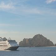 Cruiseships on San Lucas bay viewed from Villa del Palmar hotel in Cabo San Lucas. Baja California, Mexico.