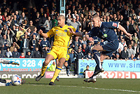 Photo: Ashley Pickering.<br />Southend United v Leicester City. Coca Cola Championship. 03/03/2007.<br />Freddy Eastwood of Southend (R) his a good first half shot saved