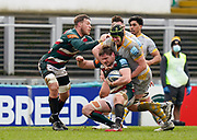 Wasps Back row James Gaskell tackles Leicester Tigers lock Calum Green during a Gallagher Premiership Round 10 Rugby Union match, Friday, Feb. 20, 2021, in Leicester, United Kingdom. (Steve Flynn/Image of Sport)