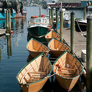 5 rowing dories in Gloucester, MA.