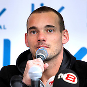 """Dutch football player Wesley Sneijder speaks during a press conference in the hospital in Istanbul on January 22, 2013. Dutch midfielder Wesley Sneijder said Monday he was """"very happy"""" to put his protracted departure from Inter Milan behind him as he left Serie A for Turkish giants Galatasaray on Monday. Photo by TURKPIX"""