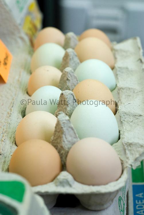 organic farm fresh colorful eggs at farmer's market