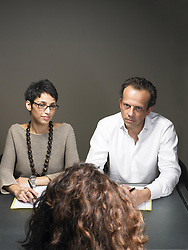 Mar. 01, 2007 - Businesswoman and businessman interviewing woman. Model and Property Released (MR&PR) (Credit Image: © Cultura/ZUMAPRESS.com)