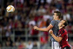 September 20, 2018 - Trnava, SLOVAKIA - Anderlecht's Ivan Santini and Spartak's defender Andrej Kadlec fights for the ball during a match between Belgian soccer team RSC Anderlecht and Slovakian club Spartak Trnava, Thursday 20 September 2018 in Trnava, Slovakia, on day one of the UEFA Europa League group stage. BELGA PHOTO JASPER JACOBS (Credit Image: © Jasper Jacobs/Belga via ZUMA Press)