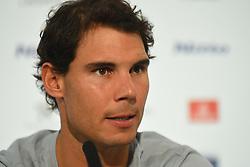 November 10, 2017 - London, England, United Kingdom - Rafael Nadal of Spain speaks to the media prior to the Nitto ATP World Tour Finals at O2 Arena, London on November 10, 2017. (Credit Image: © Alberto Pezzali/NurPhoto via ZUMA Press)