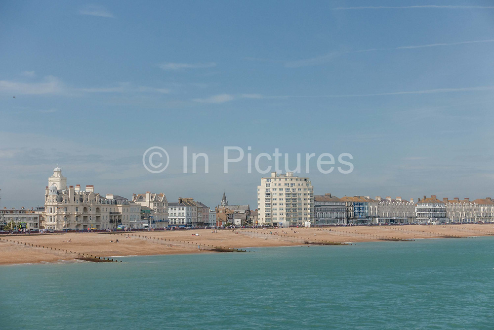 Views of Eastbourne seafront on the 2nd June 2019 in Eastbourne in the United Kingdom. Eastbourne is a resort town on England's southeast coast.