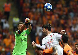 ISTANBUL, Sept. 19, 2018 Vedran Corluka(2nd R) of Lokomotiv Moscow vies with Fernando Muslera(1st L) of Galatasaray during the 2018-2019 UEFA Champions League Group D match between Turkey's Galatasaray and Russia's Lokomotiv Moscow in Istanbul, Turkey, on Sept. 18, 2018. Galatasaray won 3-0. (Credit Image: © He Canling/Xinhua via ZUMA Wire)