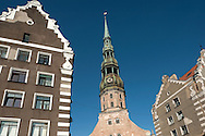 St Peter's Church spire and adjacent buildings in the Unesco-listed old town centre of Riga, Latvia © Rudolf Abraham
