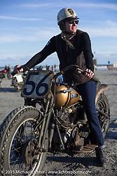 Jen Sheets on her 1947 Harley-Davidson Knucklehead racer at the Race of Gentlemen. Wildwood, NJ, USA. October 10, 2015.  Photography ©2015 Michael Lichter.