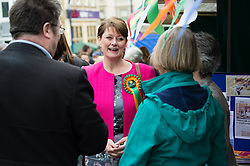 © Licensed to London News Pictures. 04/05/2015. Aberystwyth, UK In the last few days before polling day, Plaid Cymru leader LEANNE WOOD visits Aberystwyth to talk to supporters  and to campaign for local candidate MIKE PARKER, who is fighting to win the Ceredigion seat from the Lib Dems who had a majority of some 10,000 votes at the last election. Photo credit : Keith Morris/LNP