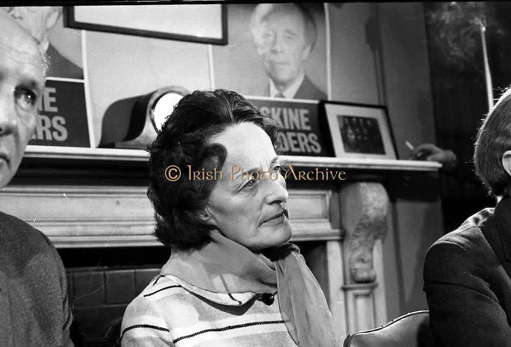 Erskine Childers Press Conference..1973..31.05.1973..05.31.1973..31st May 1973..At a press conference at Fianna Fail headquarters, Mr Erskine Childers, was confirmed as the winner of the presidential campaign. He won by a margin of 52% to 48% beating the favourite Tom O'Higgins,Fine Gael..Mrs Rita Childers pictured listening attentively to questions from the floor.