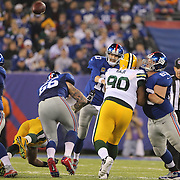 Giants quarterback Eli Manning, throws during the New York Giants Vs Green Bay Packers, NFL American Football match at MetLife Stadium, East Rutherford, New Jersey, USA. 17th November 2013. Photo Tim Clayton