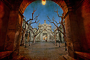 The path to the old Temple, Chartreuse of Villeneuve-les-Avignon, Gard, France