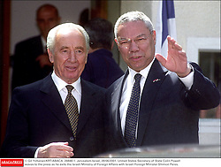 © Gil Yohanan/KRT/ABACA. 26848-1. Jerusalem-Israel, 28/06/2001. United States Secretary of State Colin Powell waves to the press as he exits the Israeli Ministry of Foreign Affairs with Israeli Foreign Minister Shimon Peres.