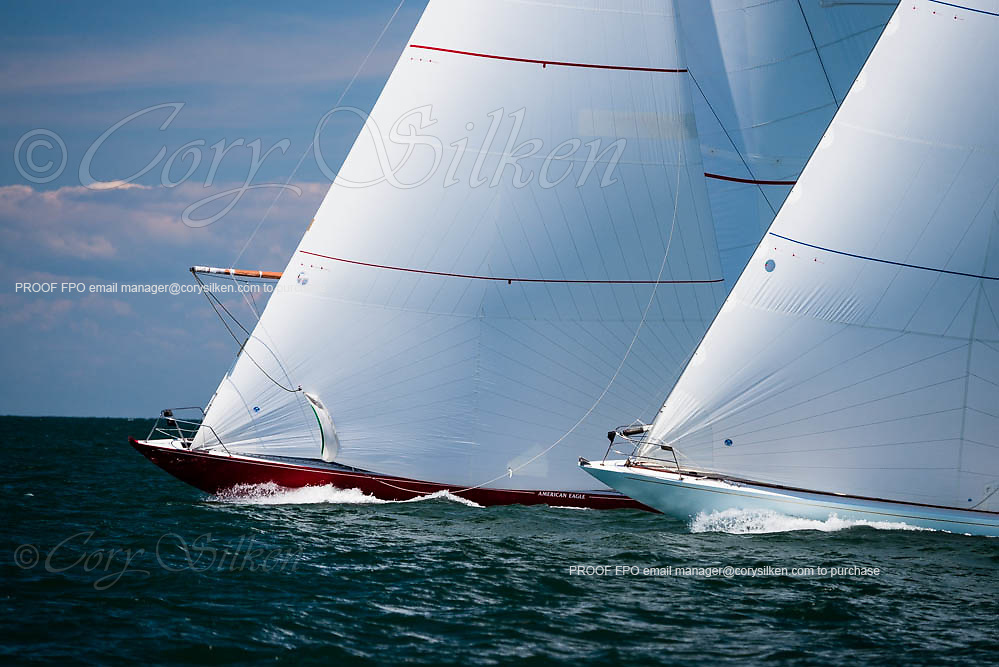 American Eagle and Weatherly sailing in the Nantucket 12 Metre Regatta.
