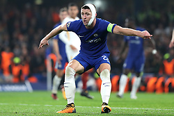 18 October 2017 - UEFA Champions League - Chelsea v AS Roma - Gary Cahill of Chelsea wears a bandage around his head and jaw - Photo: Charlotte Wilson / Offside