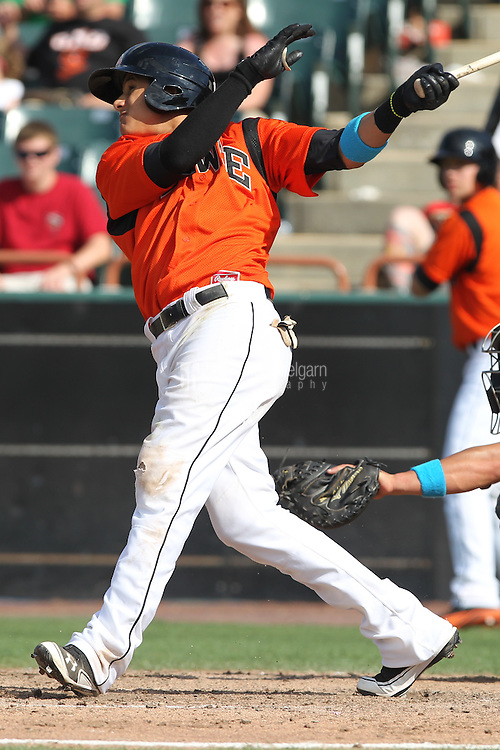 Bowie Baysox shortstop Manny Machado #3 bats during a game against the New Hampshire Fisher Cats at Prince George's Stadium on June 17, 2012 in Bowie, Maryland. New Hampshire defeated Bowie 4-3 in 13 innings. (Brace Hemmelgarn)