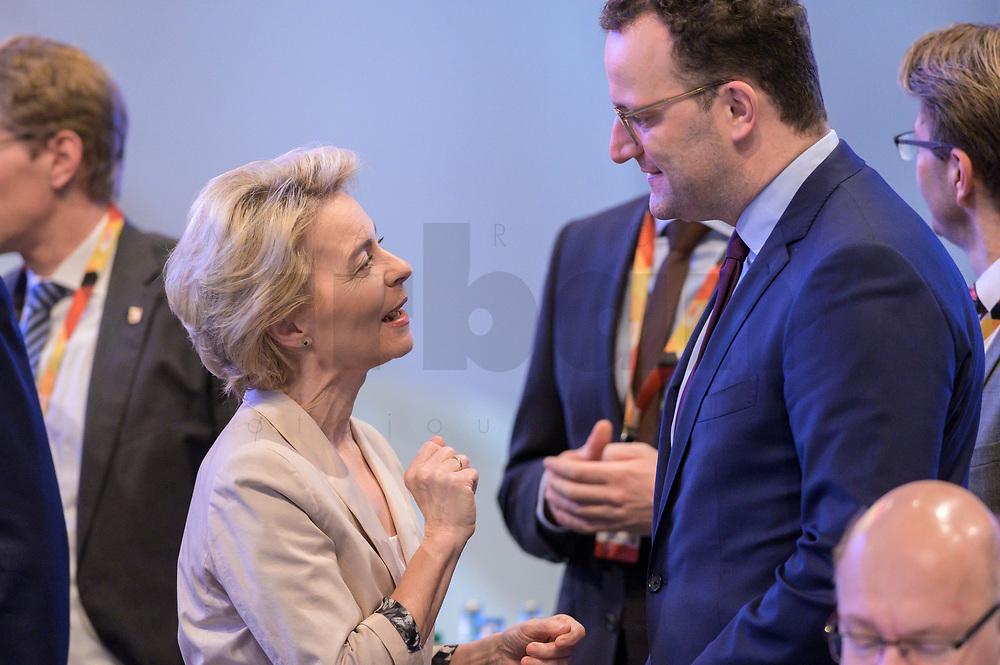 22 NOV 2019, LEIPZIG/GERMANY:<br /> Ursula von der Leyen (L), CDU, gewaehlte Praesidentin der Europaeischen Kommission, und Jens Spahn (R), CDU, Bundesgesundheitsminister, im Gespraech, CDU Bundesparteitag, CCL Leipzig<br /> IMAGE: 20191122-01-009<br /> KEYWORDS: Parteitag, party congress, Gespräch