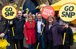 Edinburgh, Scotland, UK. 18 May 2019. Scotland's First Minister Nicola Sturgeon campaigns alongside lead SNP European candidate Alyn Smith on Leith Walk in Edinburgh.
