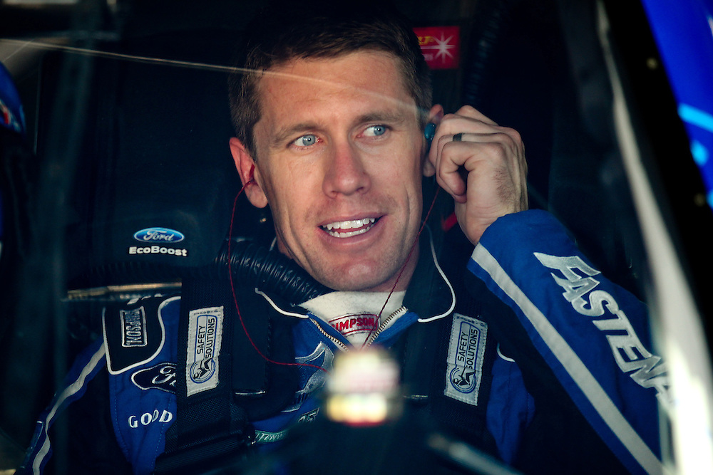 May 24, 2012; Concord, NC USA; NASCAR Sprint Cup Series driver Carl Edwards (99) during  for the Coca-Cola 600 at Charlotte Motor Speedway. Photo by Kevin Liles/kevindliles.com