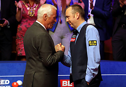 Mark Williams (right) and Barry Hearn after the 2018 Betfred World Championship final at The Crucible, Sheffield.