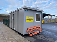 Hammersmith Hospital, London Paitent covid  testing pod. photo by Michael Butterworth