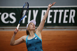 May 22, 2019 - Paris, France - Myrtille Georges of France serves during the first qualifications round of Roland Garros against Whitney Osugwe of USA, on 22 May 2019 in Paris, France, (Credit Image: © Ibrahim Ezzat/NurPhoto via ZUMA Press)