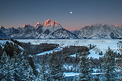 Moon, alpenglow, Grand Tetons, Snake River Overlook, Winter
