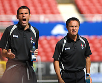Photo: Ed Godden.<br />Swindon Town v Stockport County. Coca Cola League 2. 26/08/2006. L-R, the Swindon Management team of Gus Poyet and Dennis Wise.