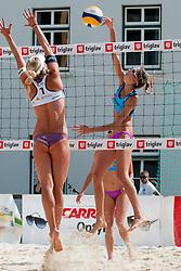 Eva Zupan vs Erika Fabjan at Zavarovalnica Triglav Beach Volley Open as tournament for Slovenian national championship on July 29, 2011, in Kranj, Slovenia. (Photo by Matic Klansek Velej / Sportida)