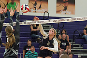 Round Rock's Addy Kaderli attempts a return against Cedar Ridge Tuesday.  The Lady Dragons beat the Lady Raiders in four games.  (LOURDES M SHOAF for Round Rock Leader.)