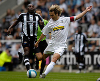 Photo: Jed Wee/Sportsbeat Images.<br /> Newcastle United v Juventus. Pre Season Friendly. 29/07/2007.<br /> <br /> Juventus captain Pavel Nedved fires a shot at goal as Newcastle's Geremi looks on.