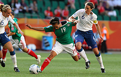 27-06-2011 VOETBAL: FIFA WOMENS WORLDCUP 2011 MEXICO - ENGLAND: WOLFSBURG<br /> Casey Stoney (England) gegen Monica Ocampo (Mexico) <br /> ***NETHERLANDS ONLY***<br /> ©2011-FRH- NPH/Hessland