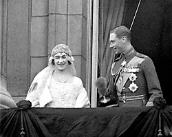 Lady Elizabeth Bowes-Lyon (later to be Queen Elizabeth, the Queen Mother) and Prince Albert, Duke of York (later to be King George VI) on the balcony of Buckingham Palace after their wedding ceremony at Westminster Abbey, London.