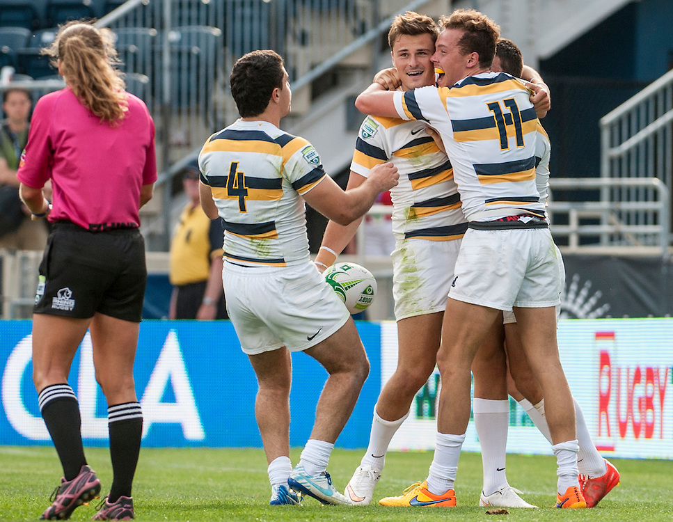 California celebrate after beating Kutztown in the final.<br /> <br /> By Jack Megaw for USA Sevens.