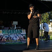 Finsbury park, London, UK. 4th August 2017. haqqi aka mr Nigeria 09 kul h performs at the Nigerian Summer Party in the Park with live music, great food & drinks.