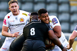 Rus Tuima of Exeter Braves is tackled by Simon Uzokwe of Newcastle Falcons A-Team - Mandatory by-line: Robbie Stephenson/JMP - 06/05/2019 - RUGBY - Kingston Park Stadium - Newcastle upon Tyne, England - Newcastle Falcons 'A' v Exeter Braves - Premiership Rugby Shield Semi-Final
