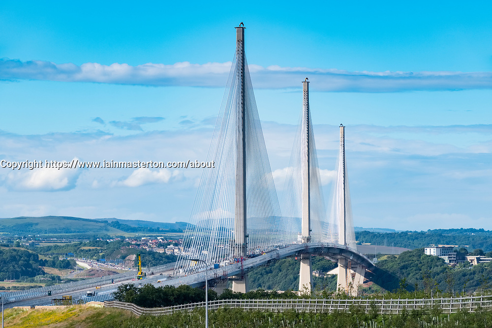 View of new Queensferry Crossing bridge spanning River Forth in Scotland, United Kingdom