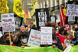 London, UK. 29th May, 2021. Activists from Frente Preta UK take part in a Kill The Bill National Day of Action in protest against the Police, Crime, Sentencing and Courts (PCSC) Bill 2021. The PCSC Bill would grant the police a range of new discretionary powers to shut down protests, including the ability to impose conditions on any protest deemed to be disruptive to the local community, wider stop and search powers and sentences of up to 10 years in prison for damaging memorials.