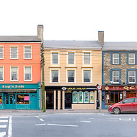 Main Street Panorama of Shopping Road in Cahersiveen, County Kerry, Ireland / ch180