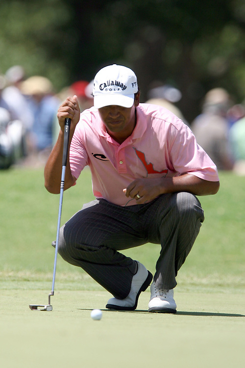 10 August 2007: Michael Campbell analyzes 18th green during the second round of the 89th PGA Championship at Southern Hills Country Club in Tulsa, OK.