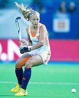 BOOM -  Jacky Schoenaker  tijdens de halve finale van het EK hockey tussen de vrouwen van Nederland en Engeland. ANP KOEN SUYK