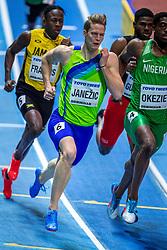 BIRMINGHAM, ENGLAND - MARCH 02: Javon Francis of Jamaica, Chidi Okezie of Nigeria, Asa Guevara from Trinidad and Tobago and Luka Janezic of Slovenia compete during round 1 of the Men's 400m at the IAAF World Indoor Championships at Arena Birmingham on March 2, 2018 in Birmingham, England. Photo by Ronald Hoogendoorn / Sportida