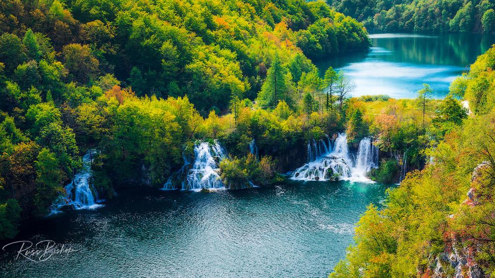 Lake Kozjak and travertine cascades on the Korana River, Plitvice Lakes National Park, Croatia