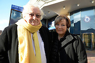 Delia Smith CBE, majority shareholder at Norwich City with her husband Michael Wynn-Jones, the joint majority shareholder of Norwich City pose for a photo outside Stamford Bridge before k/o. .Barclays Premier league match, Chelsea v Norwich city at Stamford Bridge in London on Saturday 21st November 2015.<br /> pic by John Patrick Fletcher, Andrew Orchard sports photography.