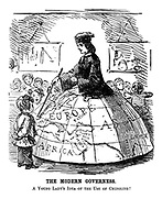The Modern Governess. A young lady's idea of the use of a crinoline!