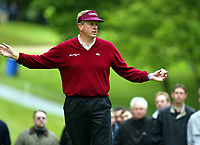 Photograph: Scott Heavey<br />Volvo PGA Championship At Wentworth Club. 23/05/2003.<br />Colin Montgomerie asks for quiet on the 3rd.