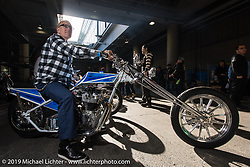 Duane Ballard staging for the grand entry into the Annual Mooneyes Yokohama Hot Rod and Custom Show. Japan. Sunday, December 7, 2014. Photograph ©2014 Michael Lichter.