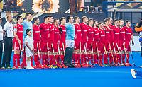 BHUBANESWAR, INDIA -  Line up England, England v Australia for the bronze medal during the Odisha World Cup Hockey for men  in the Kalinga Stadion.   COPYRIGHT KOEN SUYK